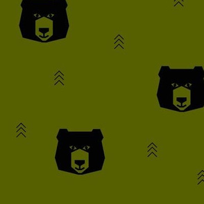 bear head geometric bears - black on olive green