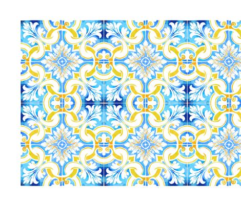 Watercolour Tea Towel - Rio Gilao Design fabric by hollydickson on Spoonflower - custom fabric