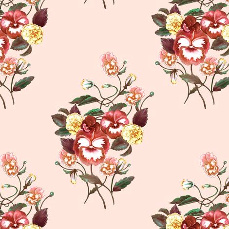 Pansy Orange Palest Peach fabric by thistleandfox on Spoonflower - custom fabric
