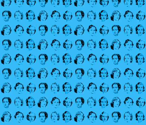 Mitford Sisters - Blue fabric by hollywood_royalty on Spoonflower - custom fabric