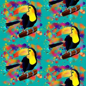 PAINTED TOUCAN and PAINTING SPLASH SPRAY COLORS ON TURQUOISE BLUE