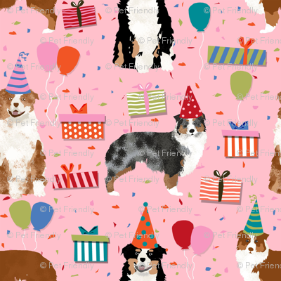 Aussie australian shepherd fabric birthday
