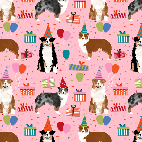 Aussie australian shepherd fabric birthday  fabric by petfriendly on Spoonflower - custom fabric