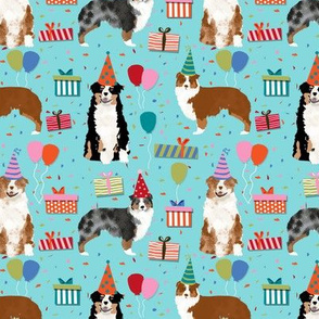 Aussie australian shepherd fabric turquoise birthday party