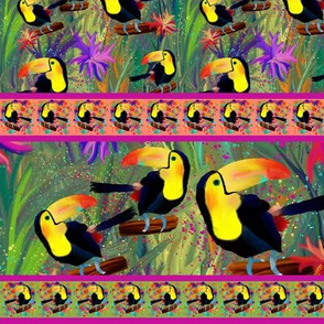 RAINFOREST TOUCAN Stripes Medium BIRD EXOTIC FLOWERS JUNGLE