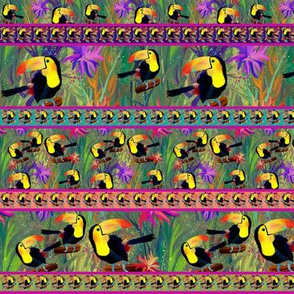 RAINFOREST TOUCAN Stripes Small BIRD EXOTIC FLOWERS JUNGLE