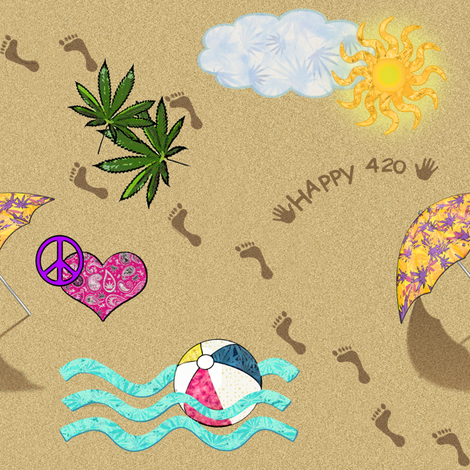 420 Day At The Beach fabric by camomoto on Spoonflower - custom fabric