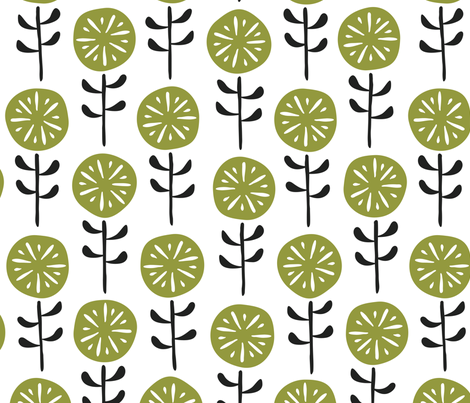 Citrus Flowers Green fabric by inkandcraft on Spoonflower - custom fabric
