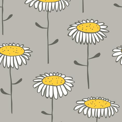 Sunflowers Yellow & Gray fabric by inkandcraft on Spoonflower - custom fabric