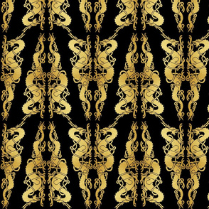 Celtic 2 Dragons Tile Gold on Black