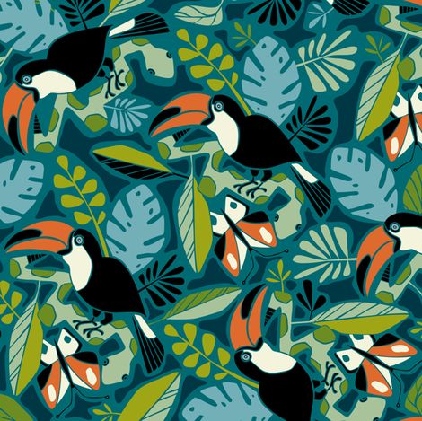 Toucan Tropics - Rainforest Jungle Birds fabric by heatherdutton on Spoonflower - custom fabric