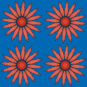 Brick Damask  Daisy on Blue