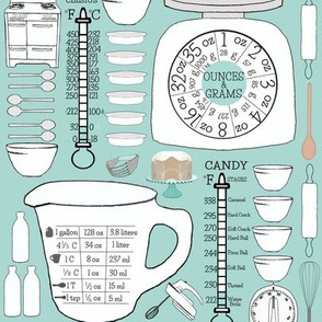 Retro Kitchen Charts Spoonflower