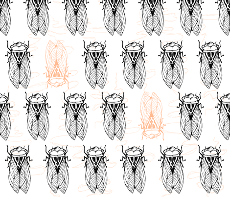 Cicadas_with_peach_test-01 fabric by pinky_wittingslow on Spoonflower - custom fabric