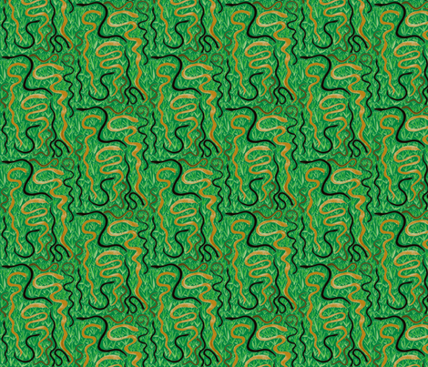 Slithering in the Grass on Rainforest Green - Large Scale fabric by rhondadesigns on Spoonflower - custom fabric