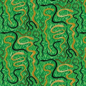 Slithering in the Grass on Rainforest Green - Large Scale