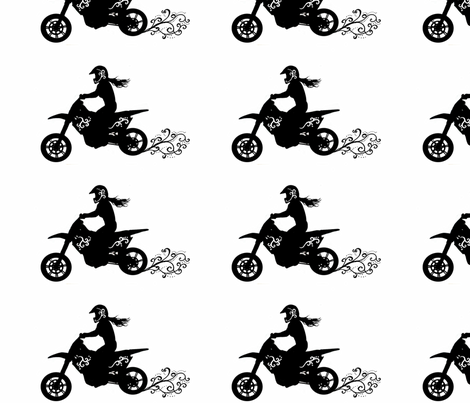 Girly Motorcycle Rider fabric by winoart on Spoonflower - custom fabric