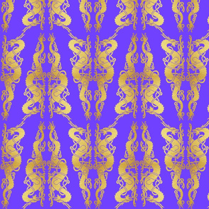 Celt 2 Dragons Tile Gold on Purple