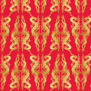 Celt 2 Dragons Tile Gold on Red