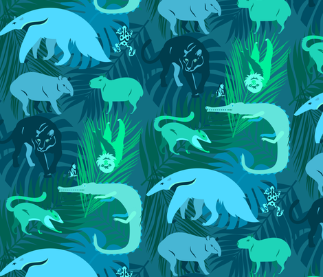 rainforest animals in aqua fabric by pinkowlet on Spoonflower - custom fabric