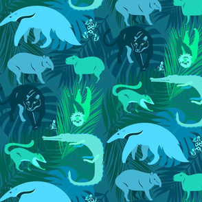 rainforest animals in aqua