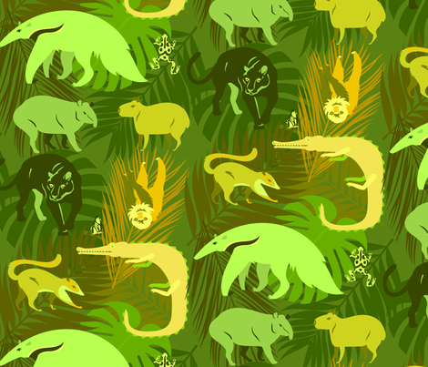rainforest animals in lime fabric by pinkowlet on Spoonflower - custom fabric