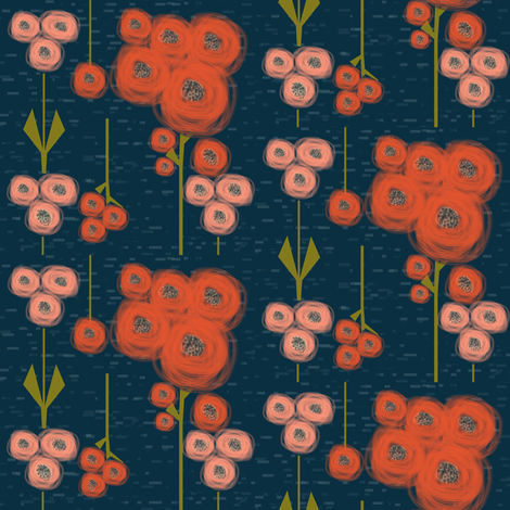 Eclectic poppy field: bloom color set 1 - red, pink, coral, navy fabric by cheeky~hodgepodge on Spoonflower - custom fabric