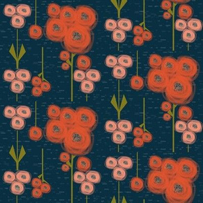 Eclectic poppy field: bloom color set 1 - red, pink, coral, navy