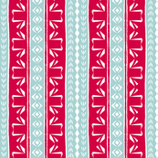 Tribal Swan Stripe Red & French Blue