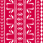 Tribal Swans Stripe Chinese Red