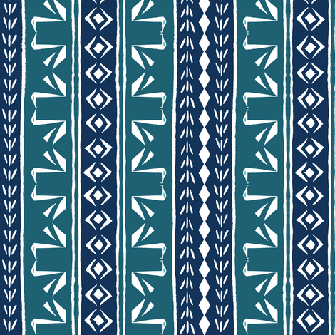 SWAN STRIPE Teal and Ink Blue on White fabric by shi_designs on Spoonflower - custom fabric