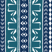 SWAN STRIPE Teal and Ink Blue on White
