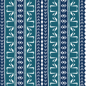 Tribal Swan Stripe Teal & Ink Blue