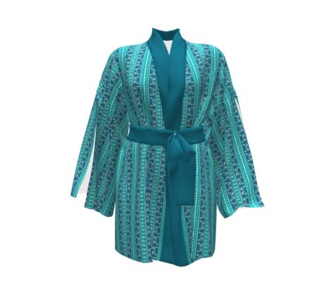 Deco Swan Stripe Turquoise & Teal