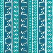 Tribal Swan Stripe Turquoise & Indigo