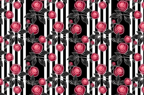Watercolor red roses on striped black and white background fabric by fuzzyfox on Spoonflower - custom fabric