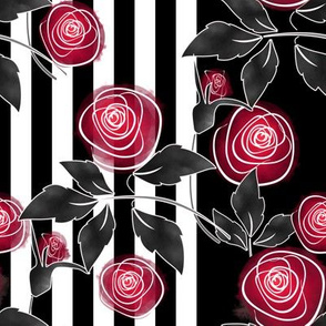 Watercolor red roses on striped black and white background