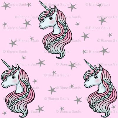 Unicorn - Pink & Grey, Unicorn and Stars - SMALL