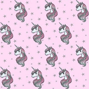 Unicorn - Pink & Grey, Unicorn and Stars - SMALL