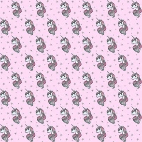 Unicorn - Pink & Grey, Unicorn and Stars - TINY