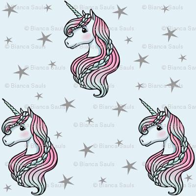 Unicorn - Blue & Grey, Unicorn and Stars - LARGE