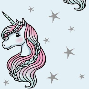 Unicorn - Blue & Grey, Unicorn and Stars - LARGE