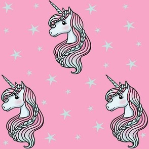 Unicorn - Hot Pink & Teal, Unicorn and Stars - MEDIUM
