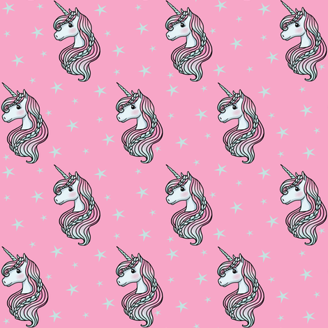 Unicorn - Hot Pink & Teal, Unicorn and Stars - SMALL fabric by m&e_fashions on Spoonflower - custom fabric