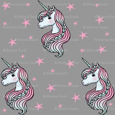 Unicorn - Gray & Hot Pink, Unicorn and Stars - LARGE