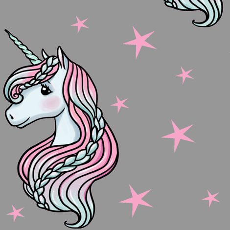 Unicorn - Gray & Hot Pink, Unicorn and Stars - LARGE fabric by m&e_fashions on Spoonflower - custom fabric