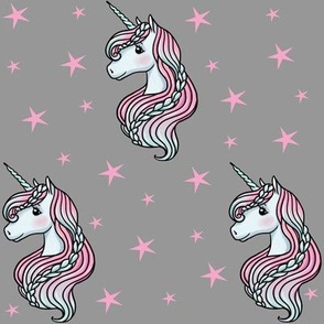 Unicorn - Gray & Hot Pink, Unicorn and Stars - MEDIUM