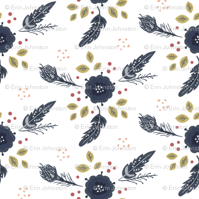 Navy blue feathers flowers + red berries + green leaves