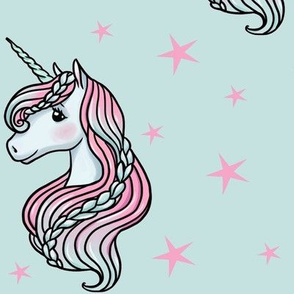 Unicorn - Teal & Hot Pink, Unicorn and Stars - LARGE