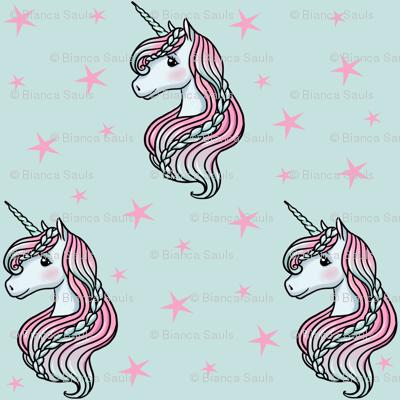 Unicorn - Teal & Hot Pink, Unicorn and Stars -  MEDIUM